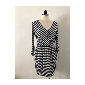 Black and white striped cross front casual dress